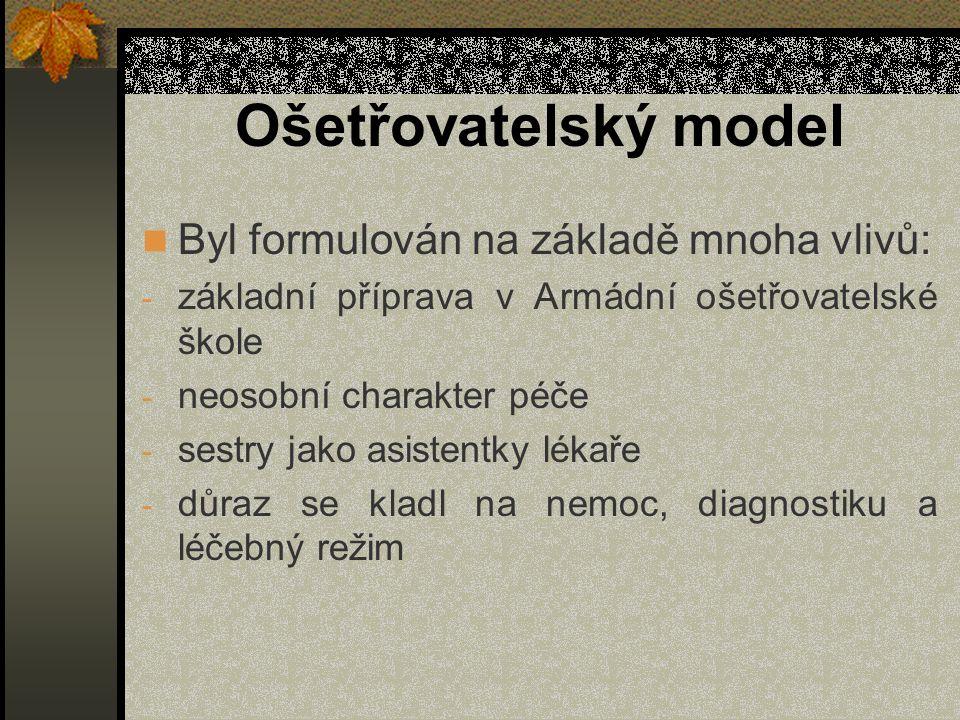 Ošetřovatelský model Byl formulován na základě mnoha vlivů: