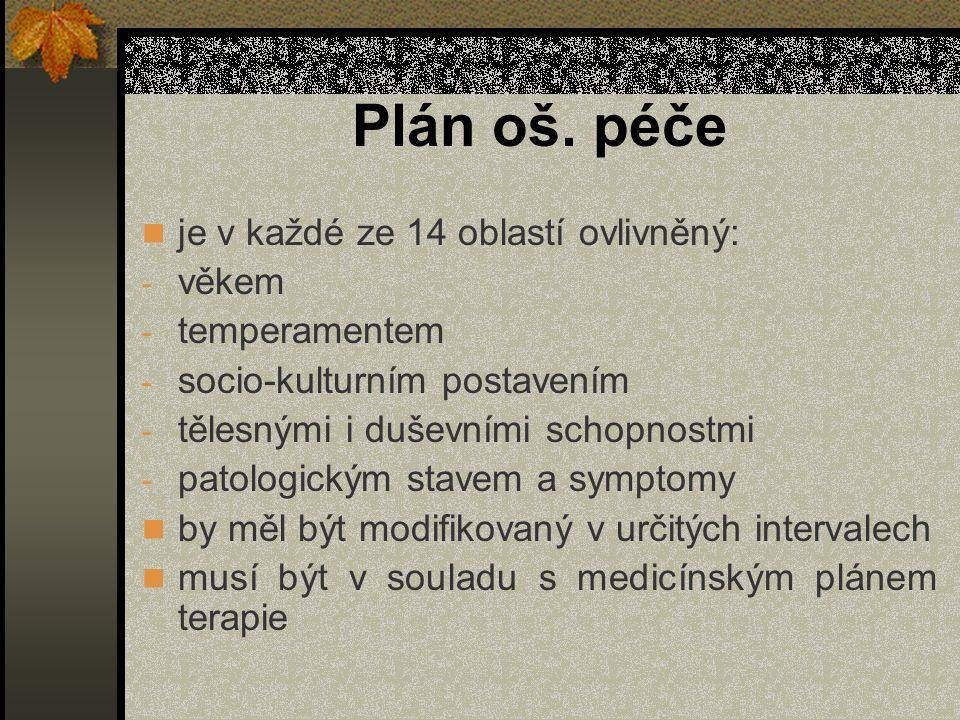 Plán oš. péče je v každé ze 14 oblastí ovlivněný: věkem temperamentem