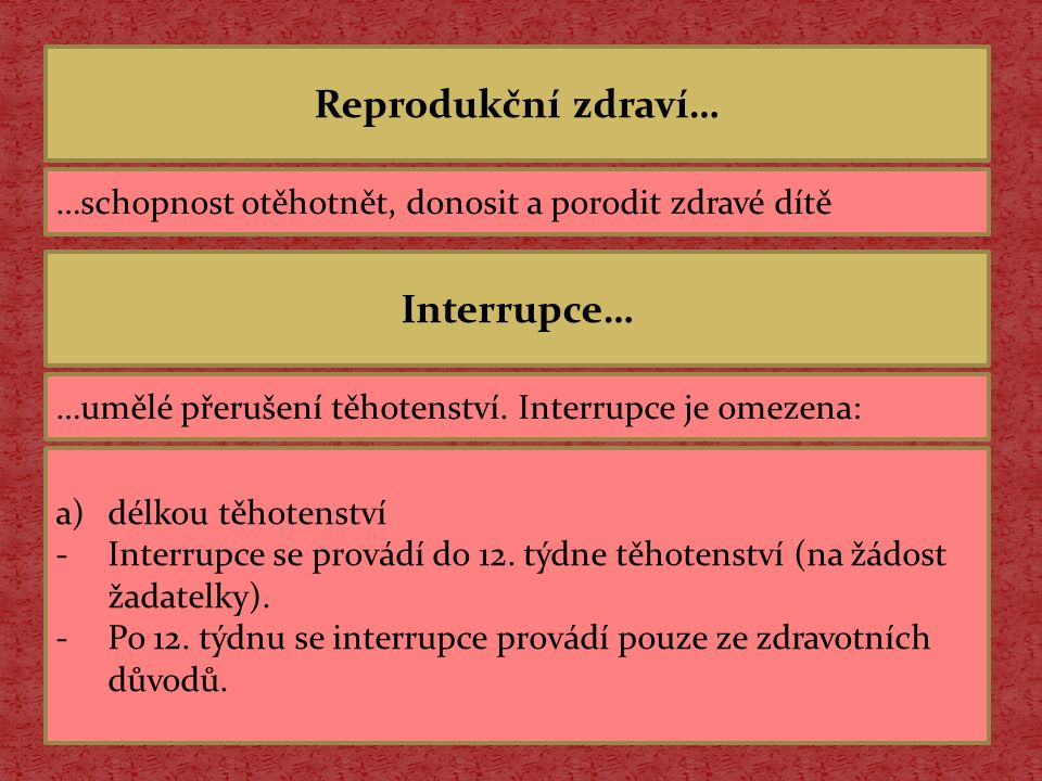 Reprodukční zdraví… Interrupce…