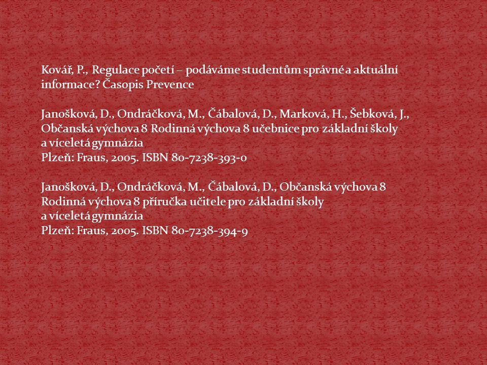 Kovář, P., Regulace početí – podáváme studentům správné a aktuální informace Časopis Prevence