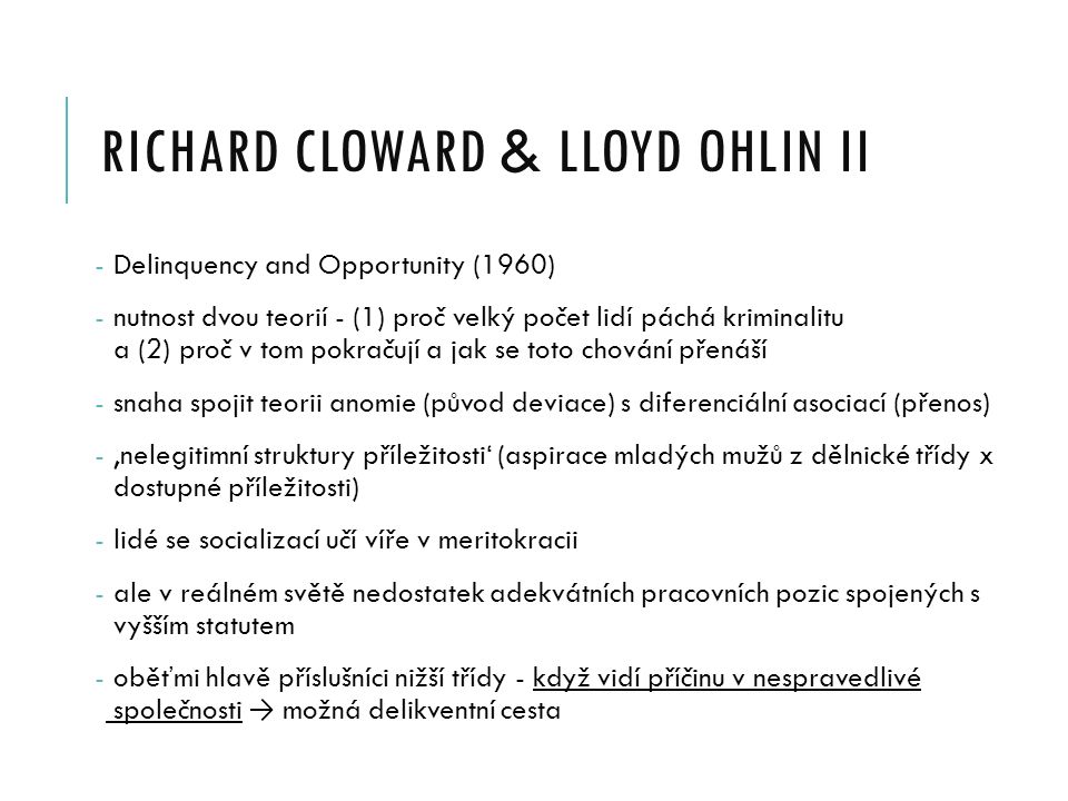 richard cloward & LLOYD OHLIN II