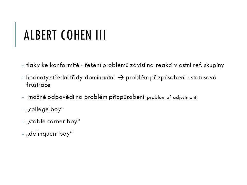albert cohen III tlaky ke konformitě - řešení problémů závisí na reakci vlastní ref. skupiny.