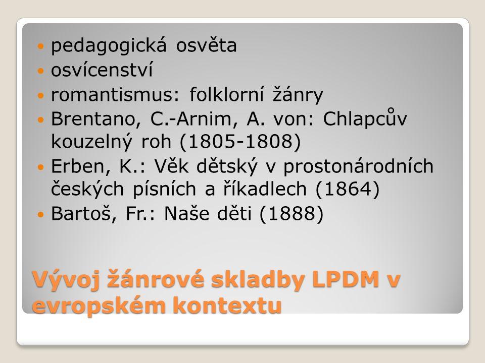 Vývoj žánrové skladby LPDM v evropském kontextu