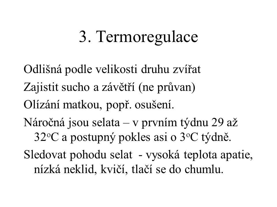 3. Termoregulace Odlišná podle velikosti druhu zvířat
