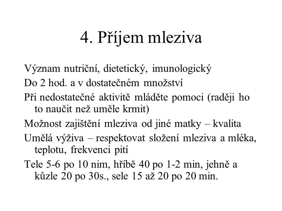 4. Příjem mleziva Význam nutriční, dietetický, imunologický