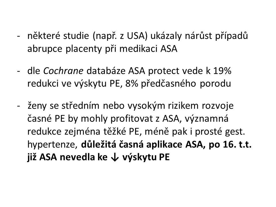 některé studie (např. z USA) ukázaly nárůst případů abrupce placenty při medikaci ASA
