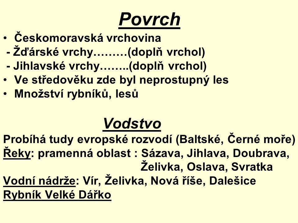 Povrch Vodstvo Českomoravská vrchovina