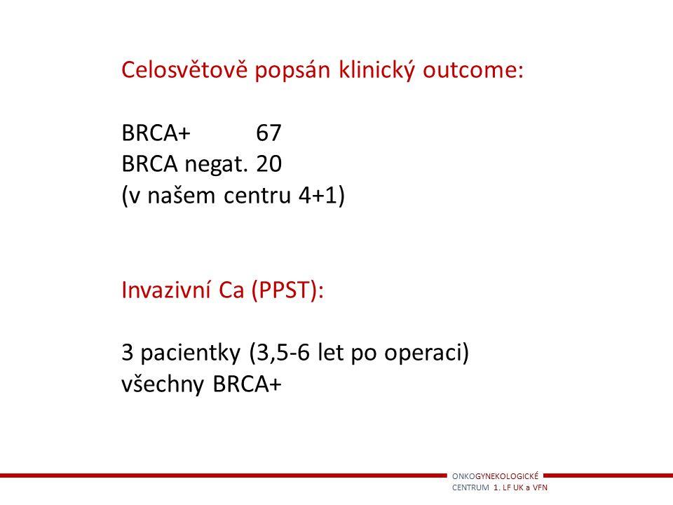 Celosvětově popsán klinický outcome: BRCA+ 67 BRCA negat. 20