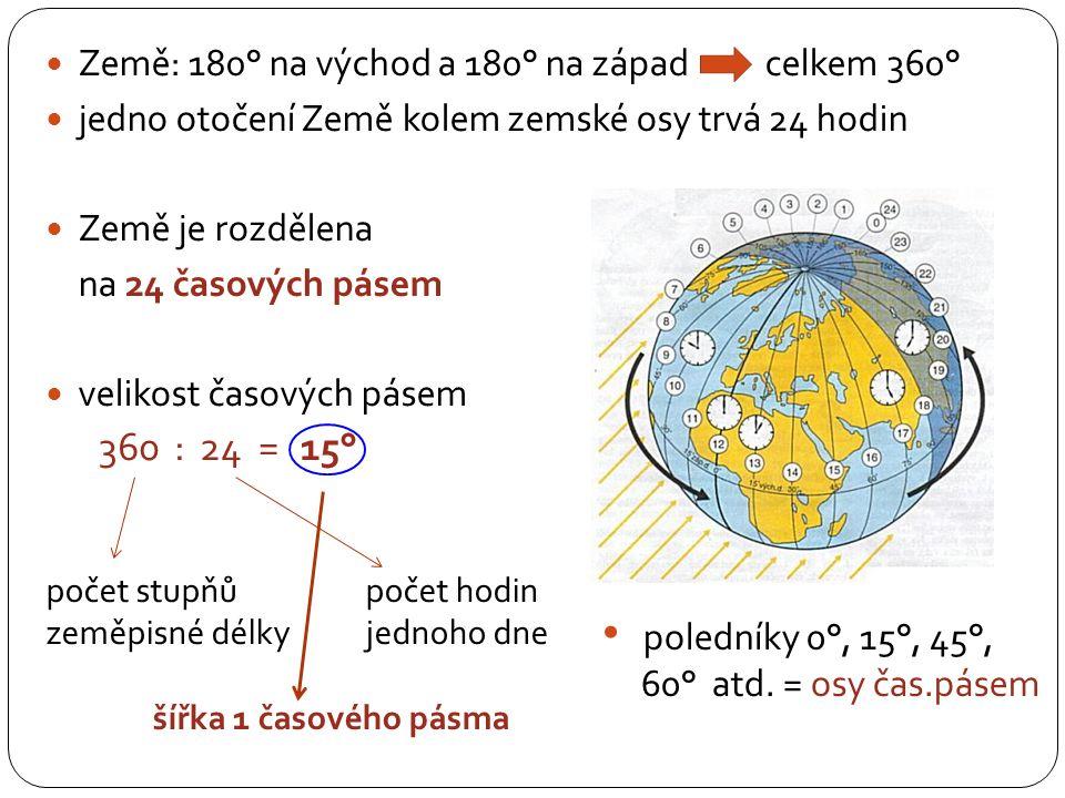 360 : 24 = 15° Země: 180° na východ a 180° na západ celkem 360°