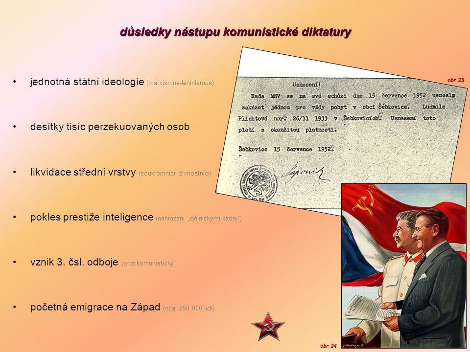 důsledky nástupu komunistické diktatury