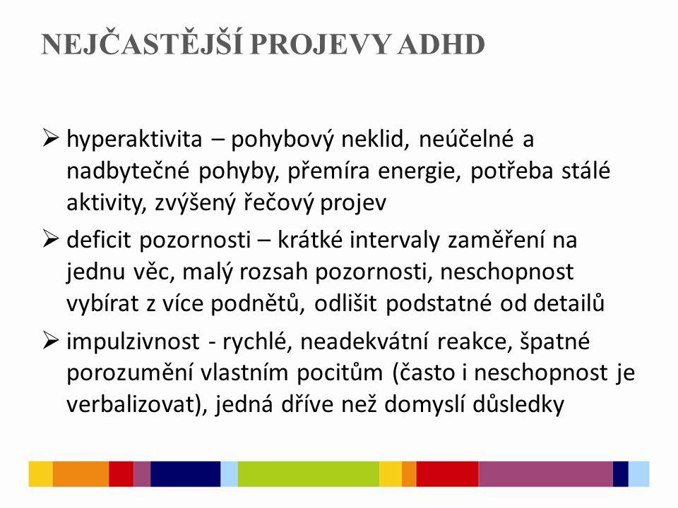 NEJČASTĚJŠÍ PROJEVY ADHD
