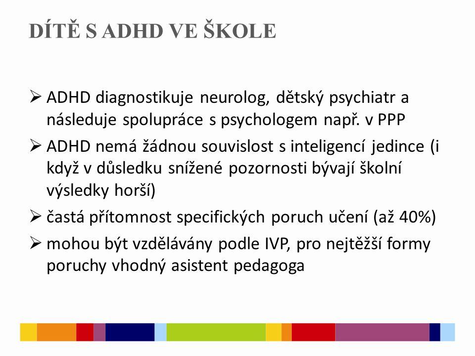 DÍTĚ S ADHD VE ŠKOLE ADHD diagnostikuje neurolog, dětský psychiatr a následuje spolupráce s psychologem např. v PPP.