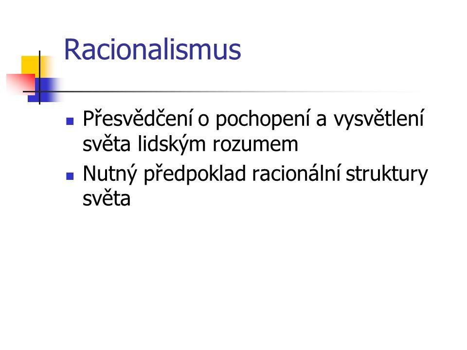 Racionalismus Přesvědčení o pochopení a vysvětlení světa lidským rozumem.