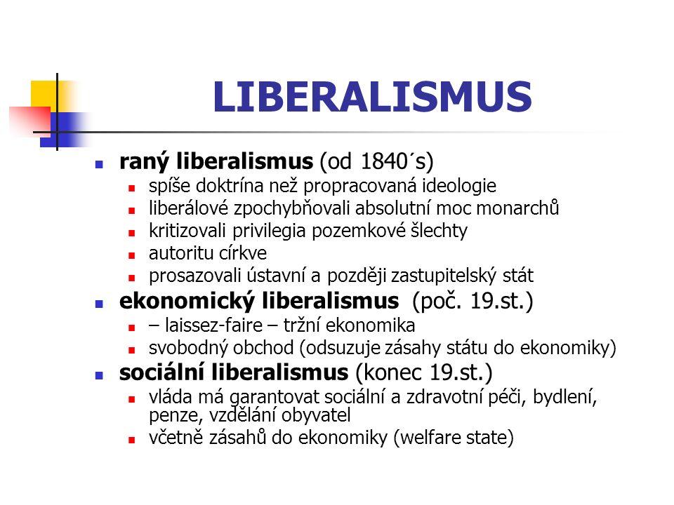 LIBERALISMUS raný liberalismus (od 1840´s)