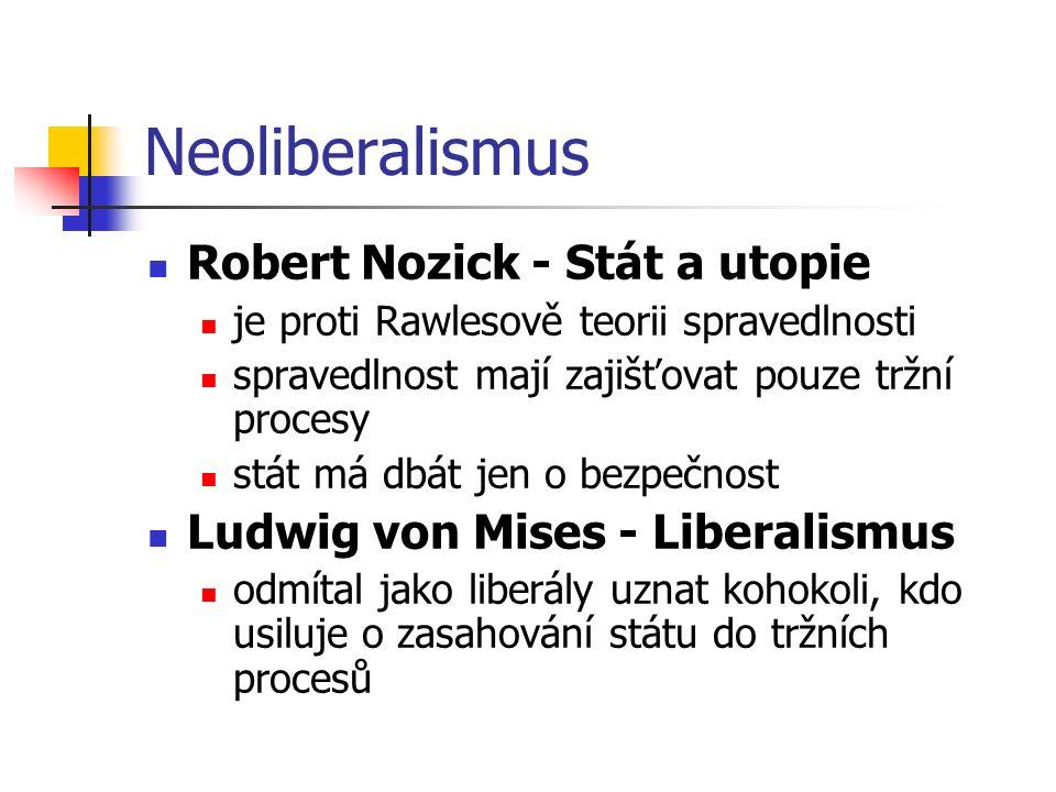 Neoliberalismus Robert Nozick - Stát a utopie