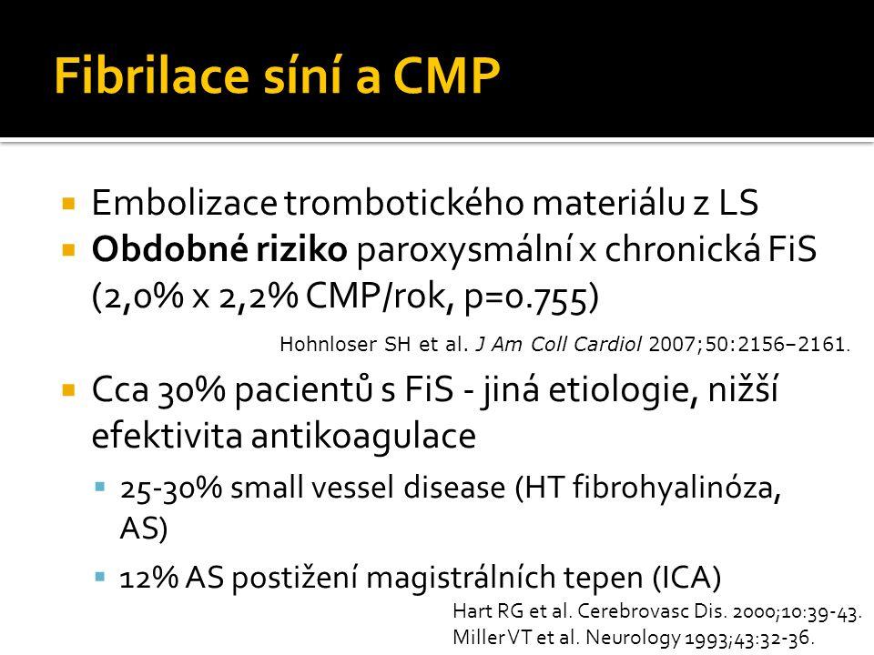 Fibrilace síní a CMP Embolizace trombotického materiálu z LS