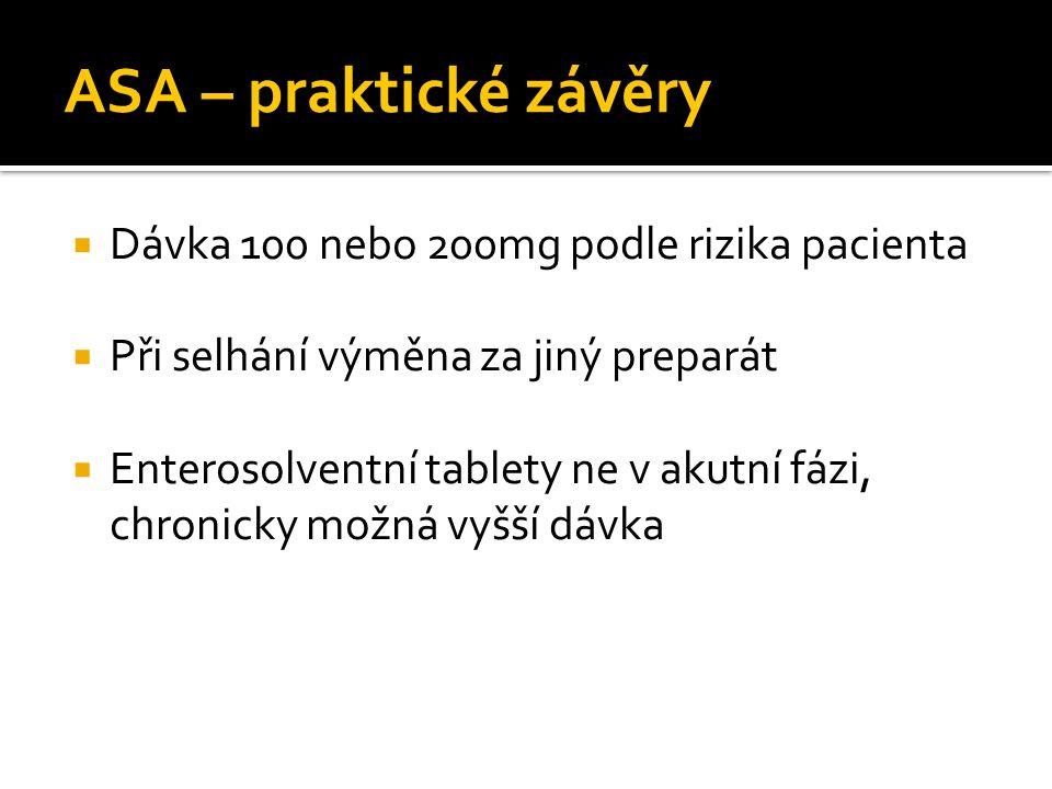 ASA – praktické závěry Dávka 100 nebo 200mg podle rizika pacienta