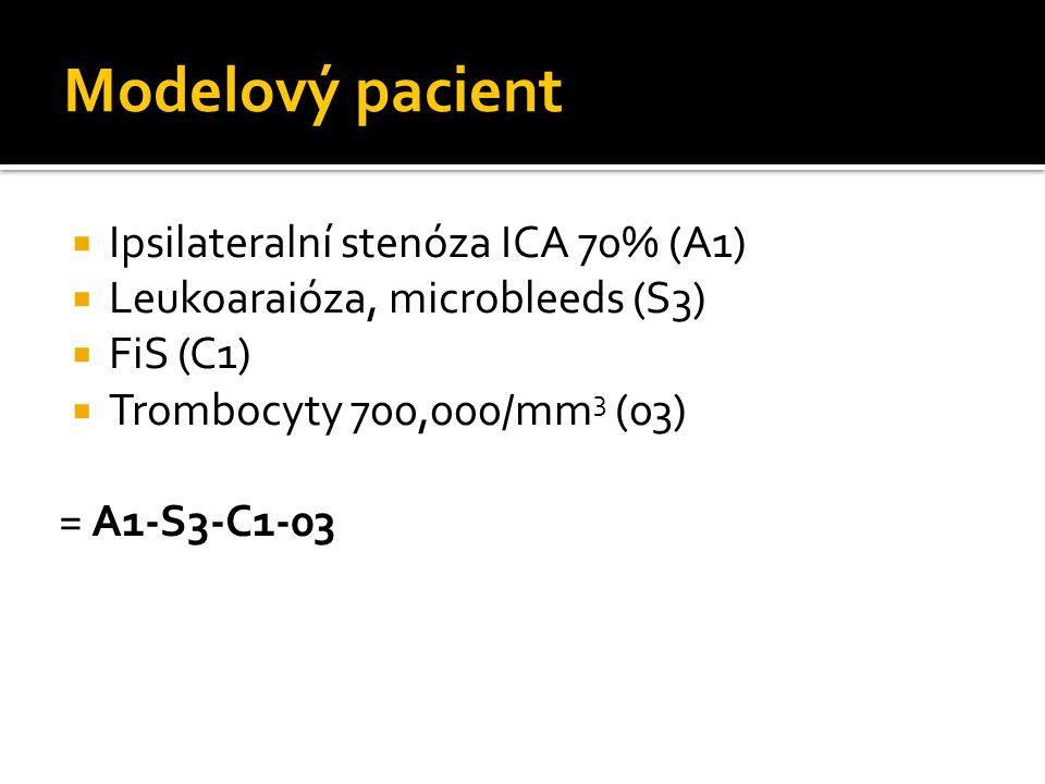 Modelový pacient Ipsilateralní stenóza ICA 70% (A1)