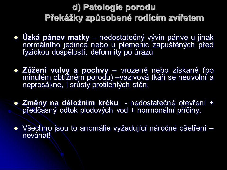 d) Patologie porodu Překážky způsobené rodícím zvířetem