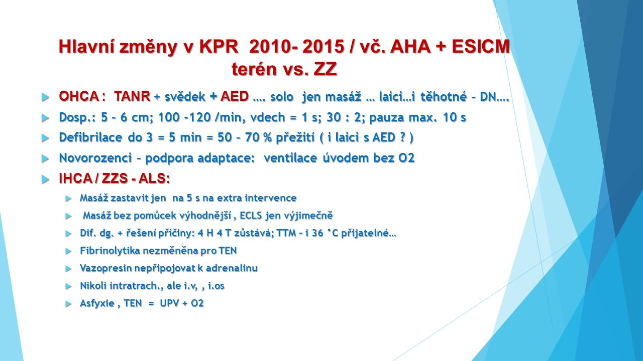 Hlavní změny v KPR 2010- 2015 / vč. AHA + ESICM terén vs. ZZ