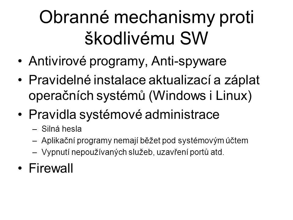 Obranné mechanismy proti škodlivému SW