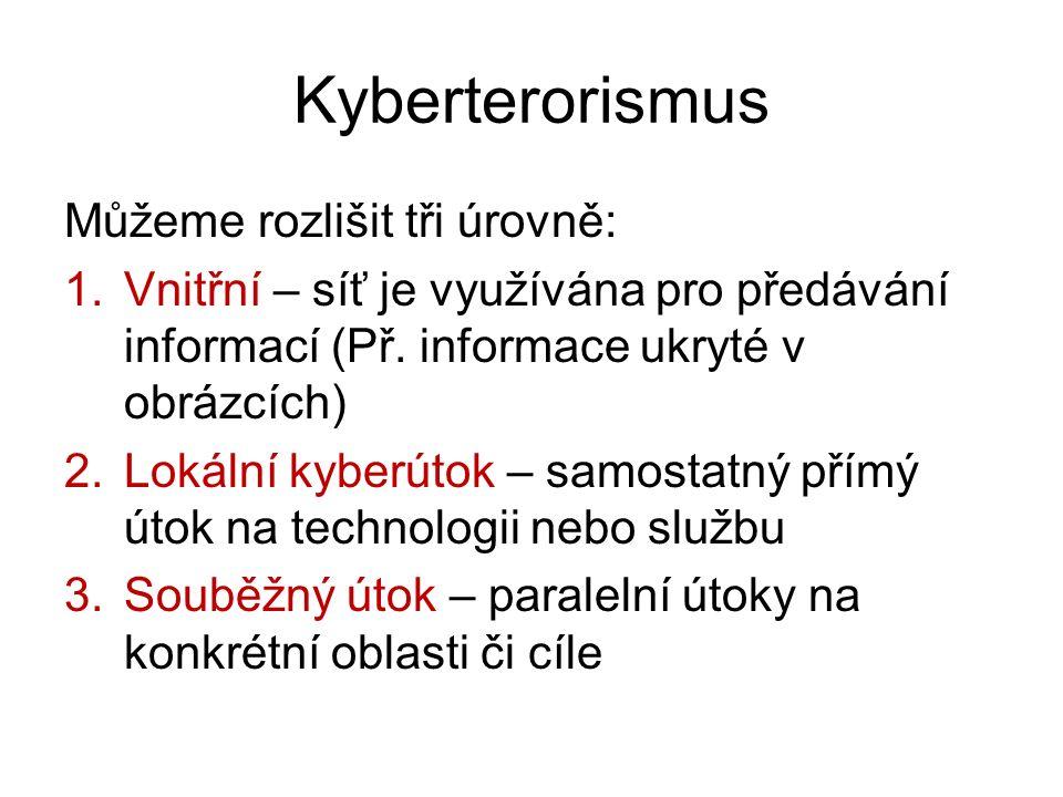 Kyberterorismus Můžeme rozlišit tři úrovně: