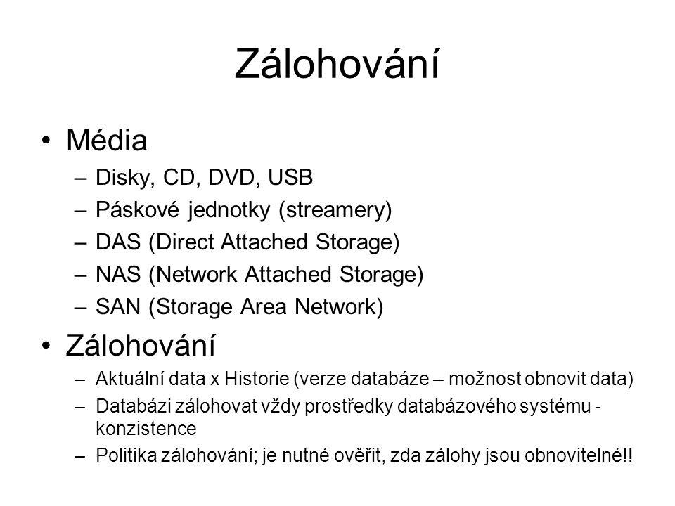 Zálohování Média Zálohování Disky, CD, DVD, USB