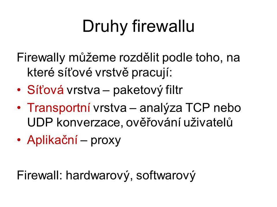 Druhy firewallu Firewally můžeme rozdělit podle toho, na které síťové vrstvě pracují: Síťová vrstva – paketový filtr.