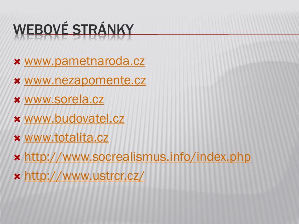 Webové stránky www.pametnaroda.cz www.nezapomente.cz www.sorela.cz