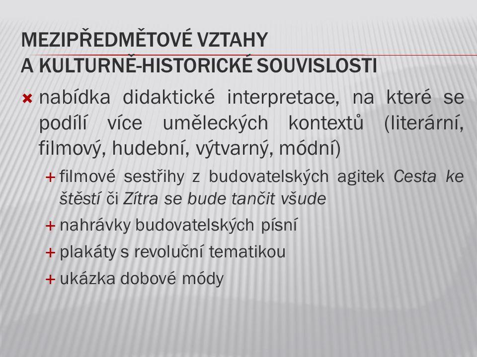 mezipředmětové vztahy a kulturně-historické souvislosti