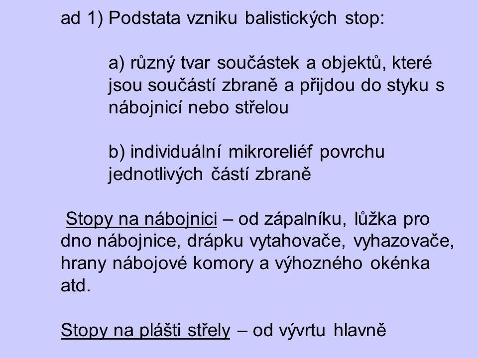 ad 1) Podstata vzniku balistických stop: