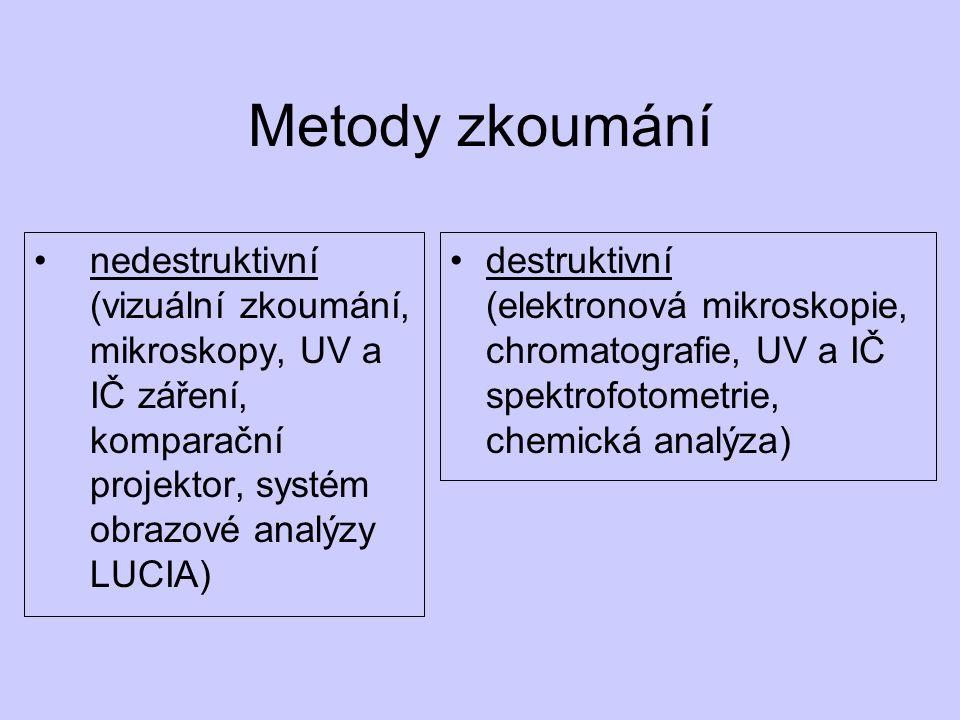 Metody zkoumání nedestruktivní (vizuální zkoumání, mikroskopy, UV a IČ záření, komparační projektor, systém obrazové analýzy LUCIA)