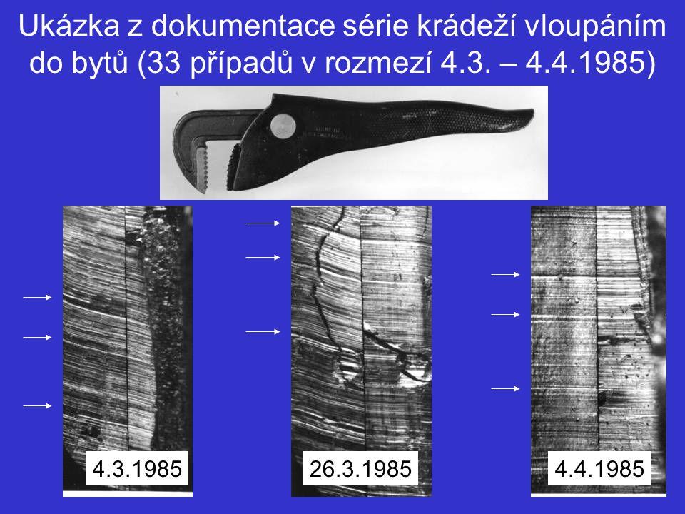 Ukázka z dokumentace série krádeží vloupáním do bytů (33 případů v rozmezí 4.3. – 4.4.1985)