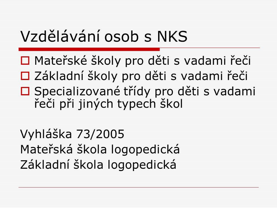 Vzdělávání osob s NKS Mateřské školy pro děti s vadami řeči