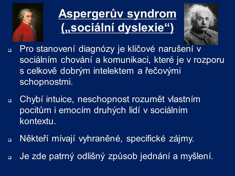 """Aspergerův syndrom (""""sociální dyslexie )"""