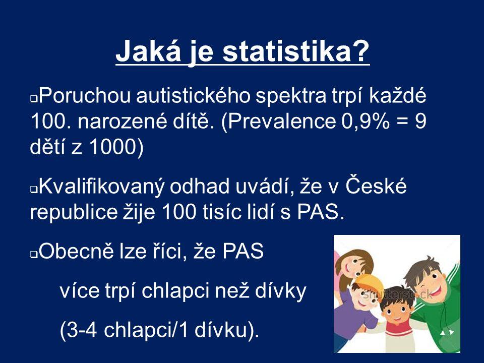 Jaká je statistika Poruchou autistického spektra trpí každé 100. narozené dítě. (Prevalence 0,9% = 9 dětí z 1000)