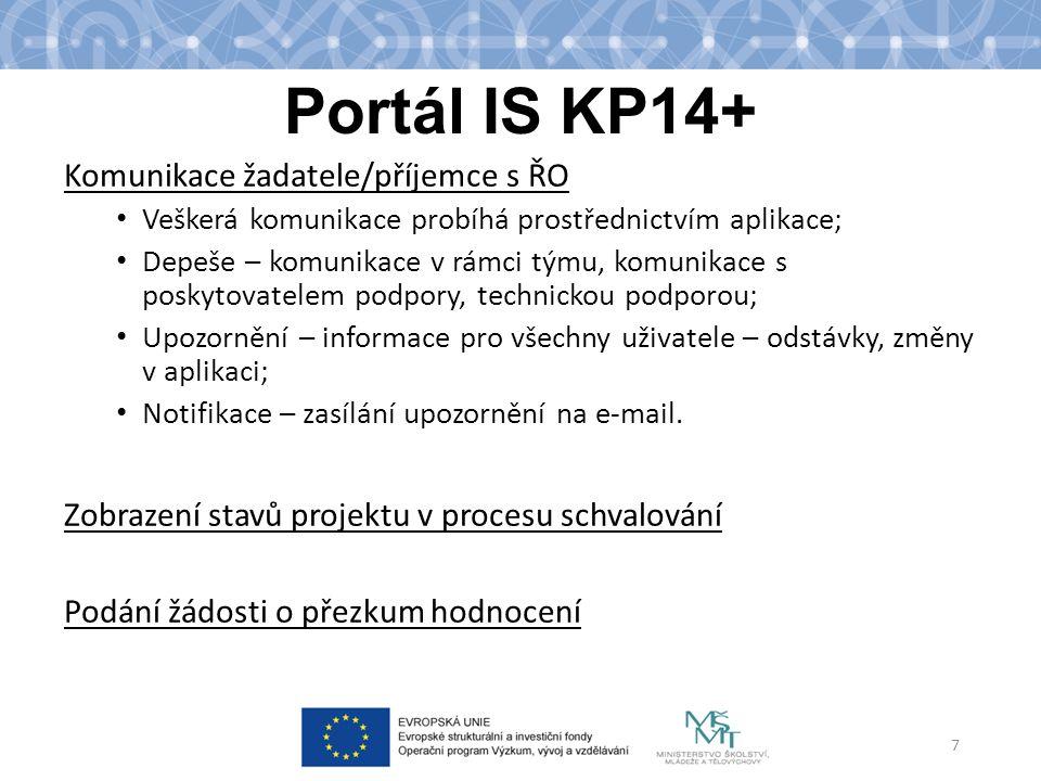 Portál IS KP14+ Komunikace žadatele/příjemce s ŘO