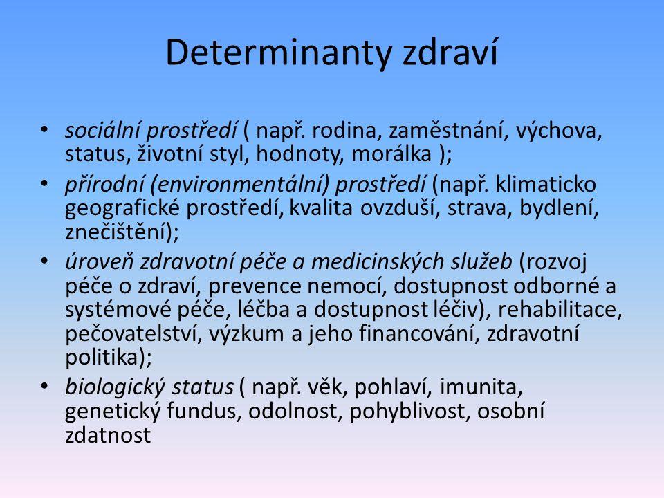 Determinanty zdraví sociální prostředí ( např. rodina, zaměstnání, výchova, status, životní styl, hodnoty, morálka );