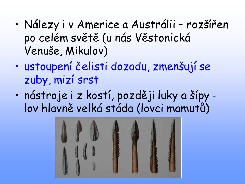 Nálezy i v Americe a Austrálii – rozšířen po celém světě (u nás Věstonická Venuše, Mikulov)