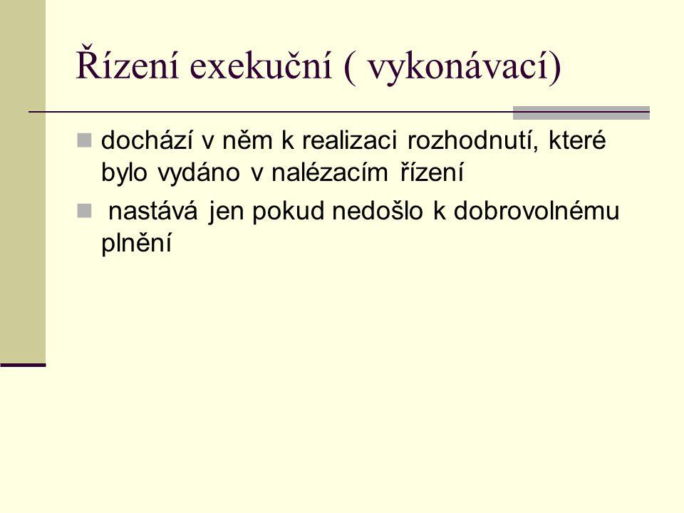 Řízení exekuční ( vykonávací)