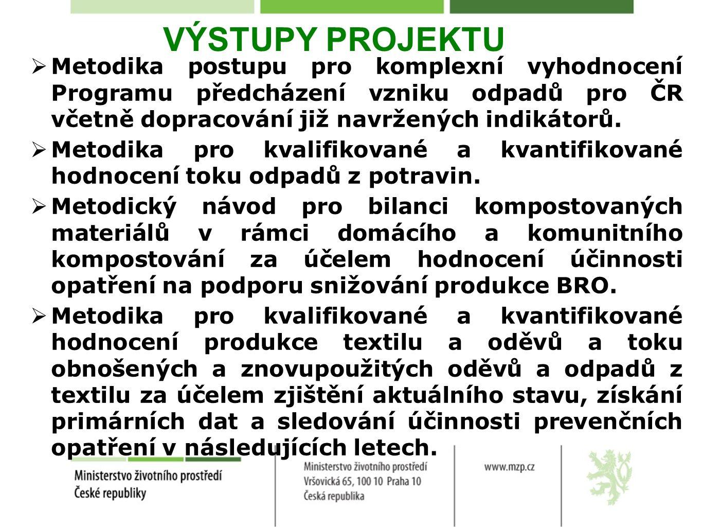 VÝSTUPY PROJEKTU Metodika postupu pro komplexní vyhodnocení Programu předcházení vzniku odpadů pro ČR včetně dopracování již navržených indikátorů.