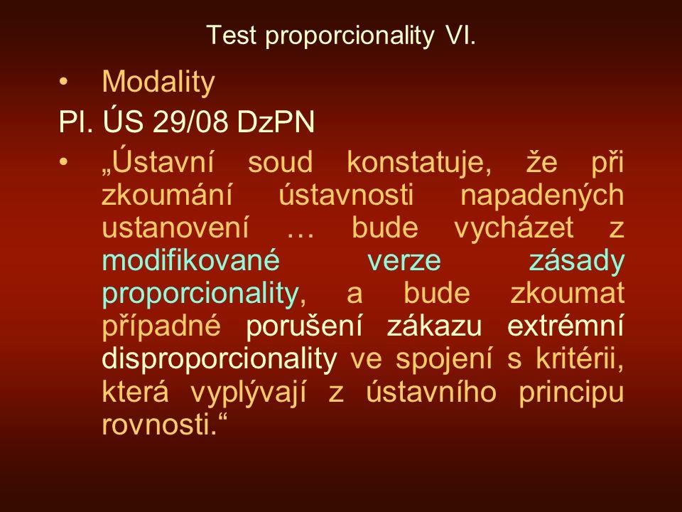 Test proporcionality VI.