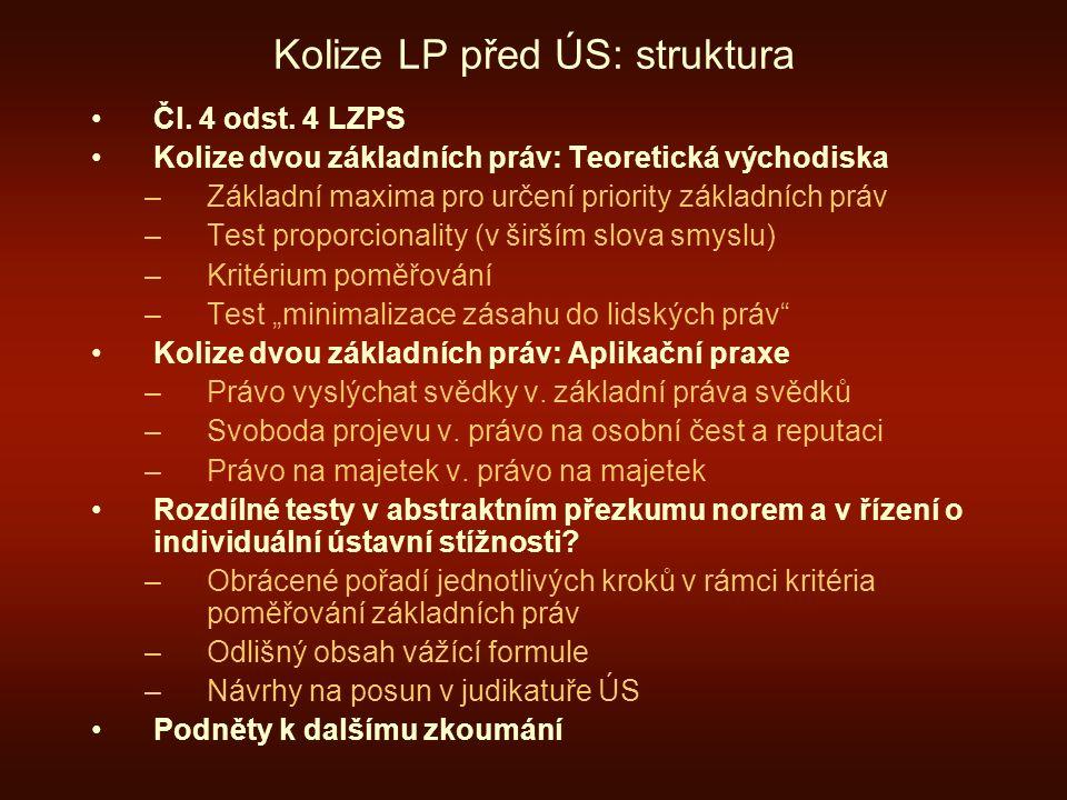 Kolize LP před ÚS: struktura