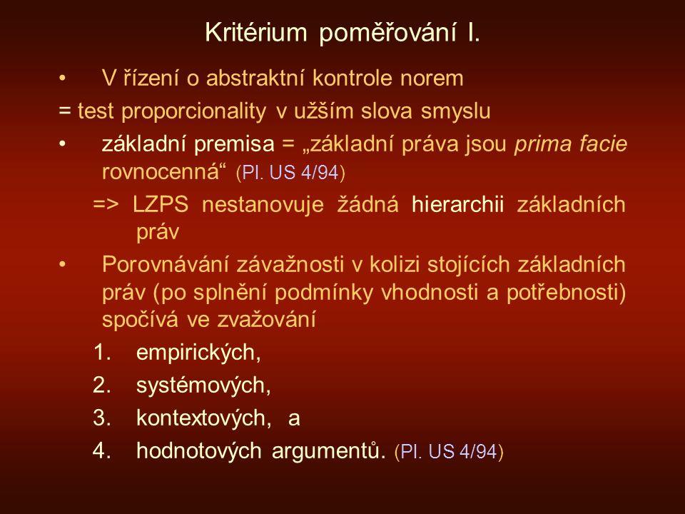 Kritérium poměřování I.