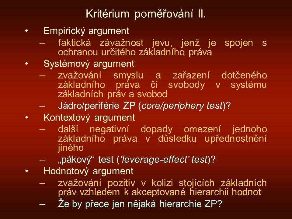 Kritérium poměřování II.