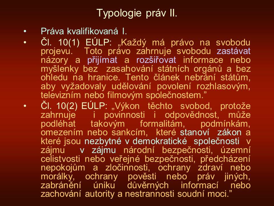 Typologie práv II. Práva kvalifikovaná I.