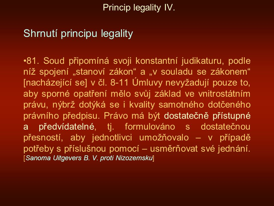 Shrnutí principu legality
