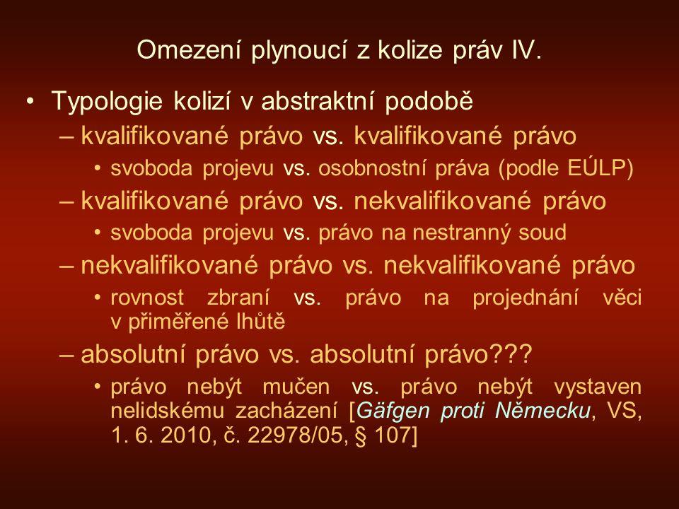Omezení plynoucí z kolize práv IV.