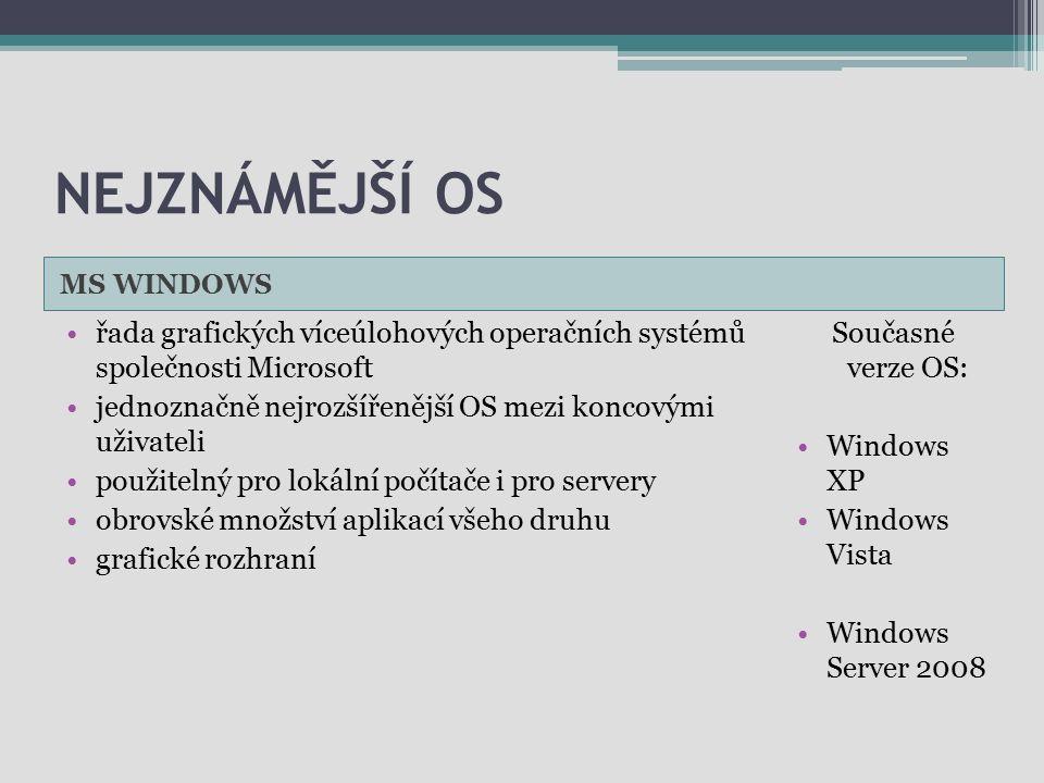 Nejznámější OS MS WINDOWS. řada grafických víceúlohových operačních systémů společnosti Microsoft.