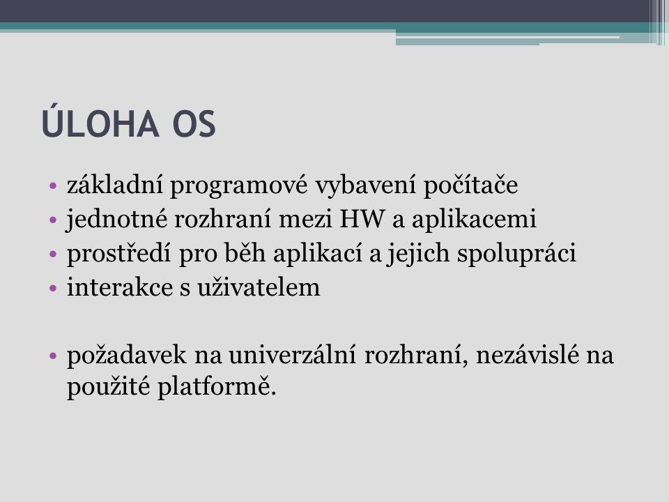 Úloha OS základní programové vybavení počítače